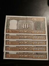 India, Lot Of 5, 10 Rupee Currency Notes, 1969-70, Gandhi.