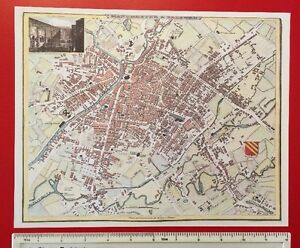 Old Antique Victorian colour map Manchester & Salford, England: 1800's: reprint