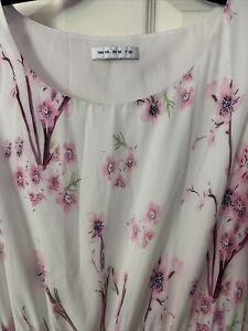 New 2XL (20-22) EU 52 Gorgeous Ivory Pink Floral Maxi Summer Dress Good Quality