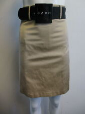 RED VALENTINO tan faux raw silk pleat bow belted A- line skirt sz 40/ 4