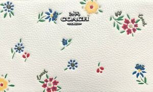 Original Packaging NWT Coach Chalk Leather W/ Wildflower Print Cosmetic Case 17