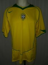 Men's Yellow Nike Brazil Authentic 2014 World Cup Short Sleeve Soccer Jersey -XL