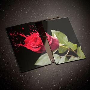 Tempered Glass Chopping Board Cooker Hob Cover Red Rose Splash Black 0319