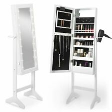 White LED Standing Armoire- Mirror, Shelf & Internal Beauty Cosmetic Storage New