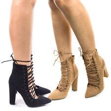 Madam15M Block Heel Dress Pump w Corset Lace Up & Leg Wrap. High Ankle Bootie