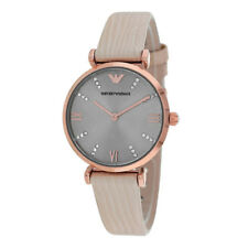 Emporio Armani AR1681 Retro Rose-tone Gray Dial Beige Leather Womens Watch