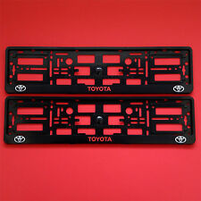 2x TOYOTA BLACK NUMBER PLATE SURROUNDS HOLDER FRAME FOR ANY TOYOTA CARS