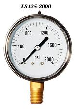 New Hydraulic Liquid Filled Pressure Gauge 0-2000 PSI
