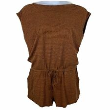 Prana Large Romper Tie Waist Pockets Striped Orange Black Open Back Sleeveless