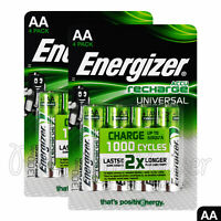 8 x Energizer Rechargeable AA batteries Universal 1300 mAh Accu NiMh Pack of 4