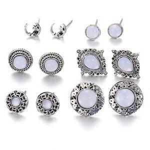 Womens 6 Piece Geometric Earrings Fashion Ear Studs Jewellery - UK