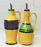Tabletops Bohemian Stripe Hand Painted Olive Oil Bottle Dispenser Discontinued