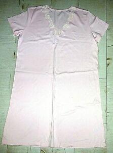Ladies Short Sleeved Night Dress- Knee Length Pink - Size 16- NEW