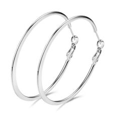 925 Silver Big Large Polished Round Circle Hoop Earrings Womens Wedding Jewelry