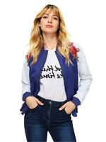Floerns Women's Casual Short Embroidered Floral Bomber Jacket, Blue, Size Large