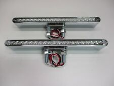 """Pair of 12""""L 19 LED Clear Red / Amber Double Face Truck Semi Trailer Light Bars"""