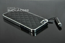 Black Genuine Leather Luxury Hard Case  iPhone SE 5 5S 5G W/ Films & Stylus