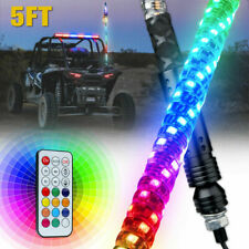 Xprite 5ft Lighted Spiral LED Whip Antenna w/ Flag Remote for Polaris RZR Buggy