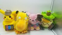 Lot of 4 Pokemon Detective Pikachu Movie Deluxe Plush Snubbull Pikachu Psyduck