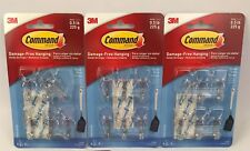 3 x Packs 3M Command #17067CLR Damage-Free Small Holding Wire Hooks Holds 0.5 lb