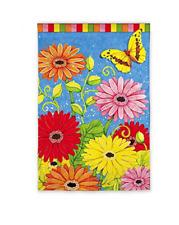 "BRIGHT GERBER DAISIES Daisies, Butterfly 12.5""x18"" Garden Flag"