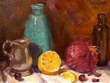 Original Art Oil Painting Realism 9x12 Impressionism Blue Vase Pitcher Sallows