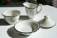 Vintage Syracuse Black Platinum Scalloped Edge Restaurant Ware