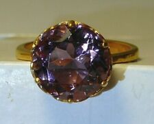 Ring 24k Yellow Gold-Plate Alexandrite (Lab.) Sterling Silver Black Diamonds