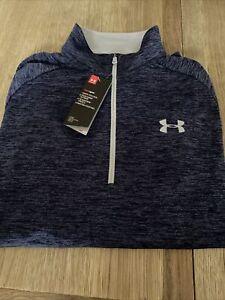 Men's Under Armour Heatgear 1/3 Zip Up Top Size X-Large Blue