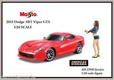 Maisto 2013 Dodge SRT Viper GTS & American Diorama figure Jessica 1:24 G scale