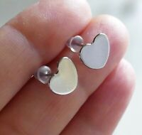4x Heart 10mm Flat Pad Hypoallergenic Earring Studs Stainless Steel Ear Pin Post
