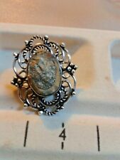 HUGE  RING HANDMADE . SIZE 6,5. PYRITE NATURAL STONE. ANTIQUE  DESIGN  SILVER