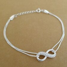 Genuine 925 Sterling Silver With Crystal CZ Infinite Forever Infinity Bracelet