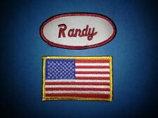 2 Lot USA Flag Taylor Name Tag Employee Uniform Work Shirt Cosplay Patches 125