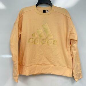 Adidas Womens Glow Orange Glam-Logo Fitness Sweatshirt Loungewear Size M $60