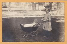 Real Photo Postcard RPPC - Girl with Doll in Buggy
