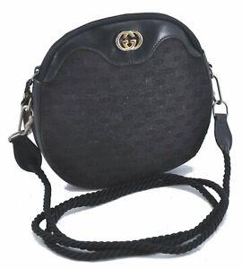Authentic GUCCI Micro GG Canvas Leather Shoulder Cross Body Bag Black E2013