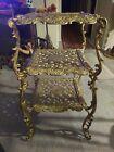Vintage Art Nouveau Gold Cast Iron 3-tier Plant Stand Table L & L WMC New Jersey