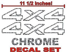 4x4 Truck Bed Decals, CHROME (Set) for Dodge Ram or Dakota