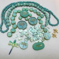 Czech Aqua, Glass Mix, w/Larimar, And Dragonfly Beads And Charms