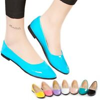 ballet flats Ladies Dancing Dolly shoes Patent Womens Kids Ballerinas size 0-6