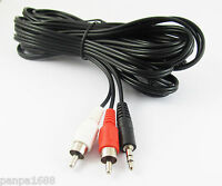 1set 16Ft 5M Aux 3.5mm Male Stereo Plug to 2 RCA Phono Male Audio Video AV Cable
