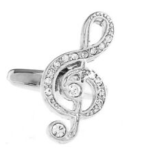 Men's Cuff Links - Music Treble Clef with Crystals Cufflinks