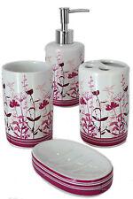 4 Piece Purple & Lilac Wild Flower Meadow Ceramic Bath Bathroom Accessory Set