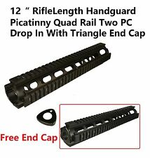 """Drop In Riflelength 12"""" Quad Rail Handguard Picatinny With Free Triangle End Cap"""