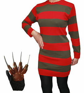 Adult Ladies Halloween Freddy Fancy Dress Horror Costume Outfit Free P&P