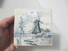 Antique Ceramic Tile Vintage French Village Boats River Cottage Farm Windmill
