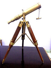 VINTAGE SOLID BRASS MARINE NAUTICAL ROYAL NAVY TELESCOPE WITH WOOD TRIPOD PORT.