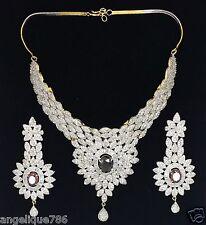 INDIAN BOLLYWOOD DIAMOND & AMETHYST STIMULANT NECKLACE EARRING SET GORGEOUS WOW!