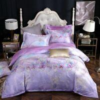 Purple Lavende Bloom Bedding Set 4Pcs Cover Set Vinrant Cover Cotton Sheet Set